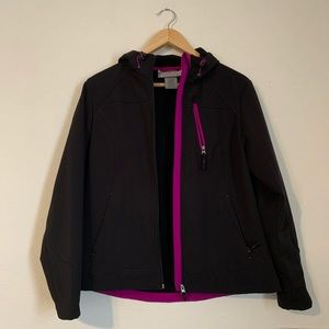 Free Country Thin Black Jacket With Hood Medium